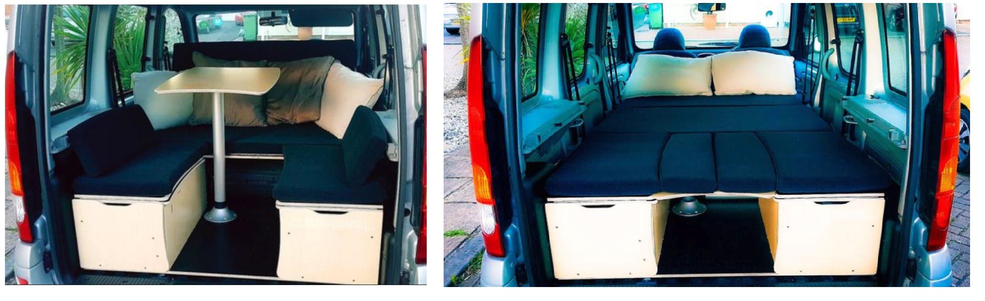kit mini camper con mesa interior