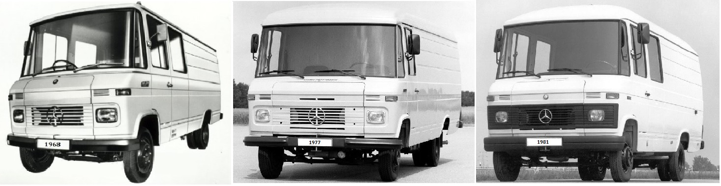 Comparación entre tres versiones de furgonetas Mercedes Antiguas T2 de primera generación